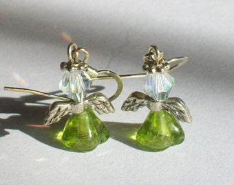 August Birthstone Angel Earrings