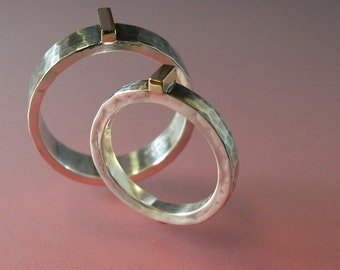 Hand Forged Wedding Band Set,14k, Sterling Silver