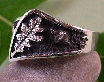 Oak Leaf, Acorn Ring, sterling silver