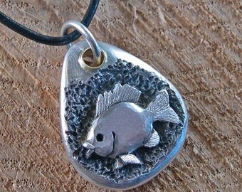 BLUE GILL   ( Beach Pebble  Nature Nugget Series)  Sterling silver, brass, polished leather cord with lobster claw clasp