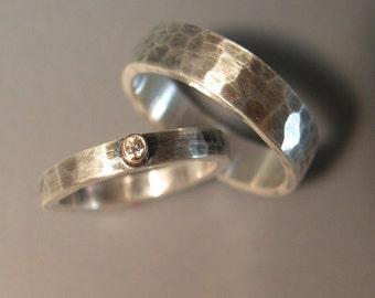 Hand Forged, Hammered, Wedding Bands - Sterling Silver, 14k Gold, Diamond
