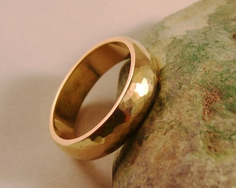Wedding Band, Hand Forged, 6mm, 14k Yellow Gold