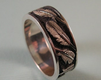 Feather Ring, Hand Carved, Engraved, Sterling Silver