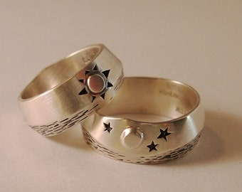 Sun and Moon Over Water, Wedding ring set, Sterling Silver