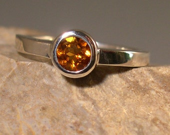 Citrine Sunflower Ring, Sterling Silver
