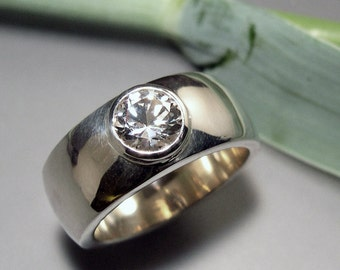 White Topaz, Wide Domed Ring, Sterling Silver