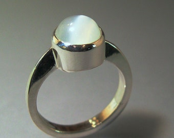 Moonstone Ring, Sculptural, Sterling Silver
