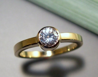 White Sapphire, 14k Gold Ring