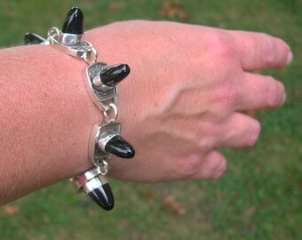 Spike Onyx and Sterling Silver Bracelet