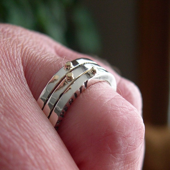 Hand Stamped,Stacking, Mixed Metal, Meaningful Words, Message, or Name Rings, Sterling Silver, 14k Gold