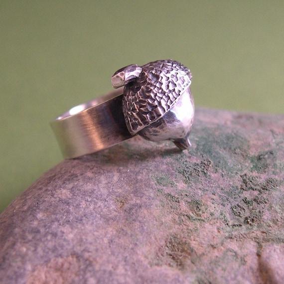 Little Acorn BIG OAK ring, Sterling Silver