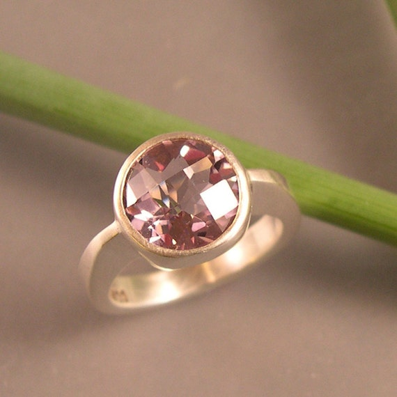 Checkerboard Cut Pink Amethyst Ring, Sterling Silver