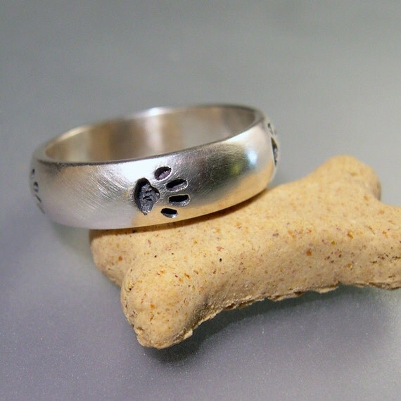 Paw Print Ring Memorial Paw Print Ring Sterling Silver