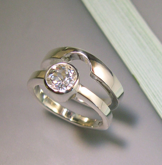 white topaz wedding band set sterling silver