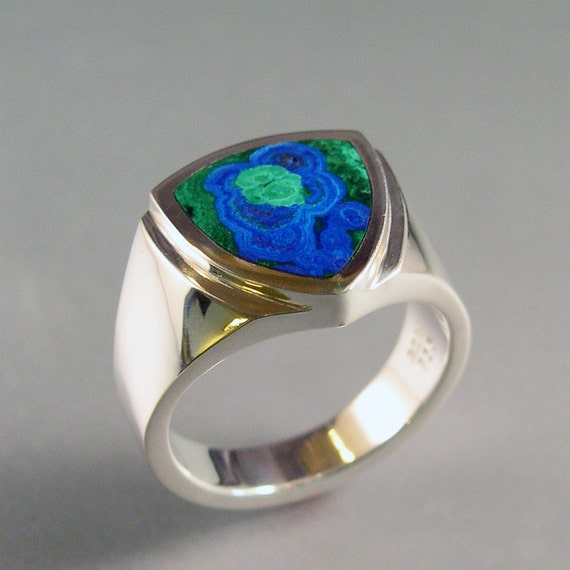 Azurite Malachite Inlay Mans Ring Sterling Silver