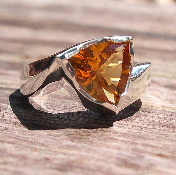 Citrine Trillion Ring, 1.88 Carat, Sterling Silver