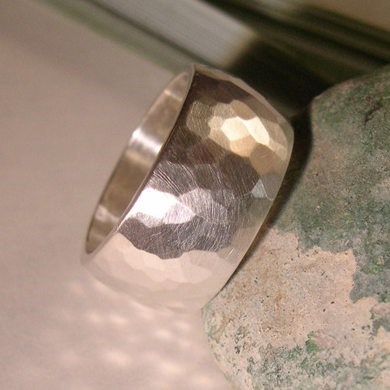 Wide Ring, or Wedding Band, Forged, 10mm, Sterling Silver