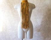 Beaded Fringe Buckskin Leather Necklace - One of a Kind