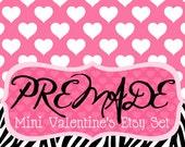 Zebra with White Hearts on Pink- Mini Valentine's Etsy Set