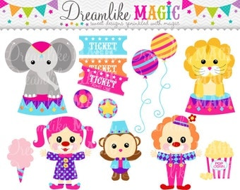 Circus Clipart, Clown Clipart, Circus Animals Clipart, Tickets, Popcorn, Cotton Candy, Monkey, Lion, Clipart for Personal or Commercial Use
