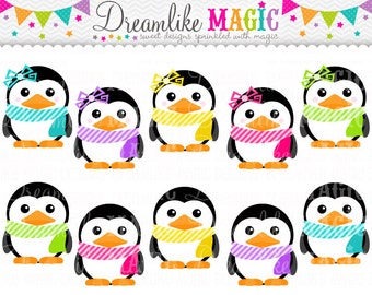 Sweet Winter Penguins- Clipart for Personal or Commercial Use