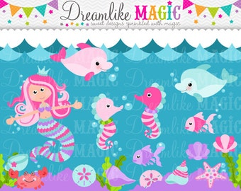Under the Sweet Sea- Clipart for Personal or Commercial Use