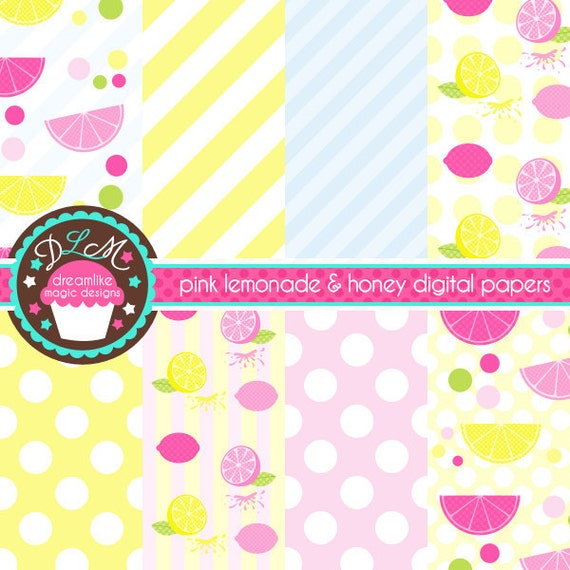 Pink Lemonade and Honey Bee Digital Paper Pack for Personal or Commercial Use