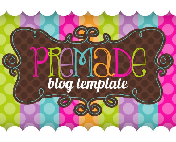 Blogger Template- Bright Stripes with Choco Dots Design