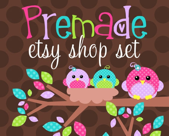Nest of Bright Tweets- Premade Etsy Set