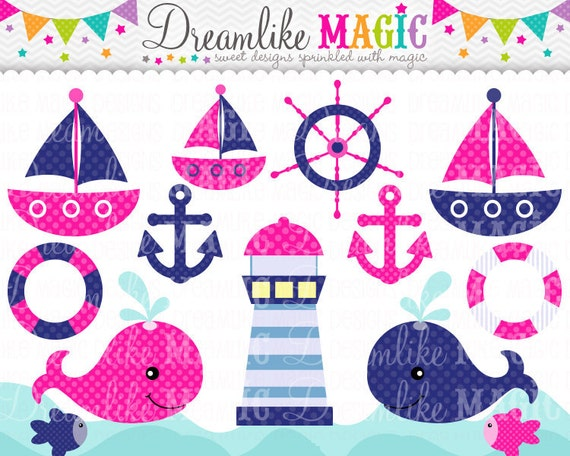 Pink and Navy Nautical Clipart- Clipart for Personal or Commercial Use