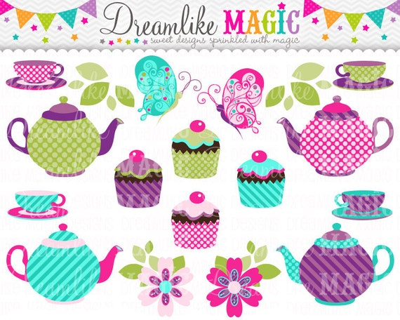 Tea Party Clipart, Butterfly Clipart, TeaSet Clipart, Tea Cup Clipart Tea Pot Clipart, Tea Party Birthday Clipart, Cupcake, Cute Clipart