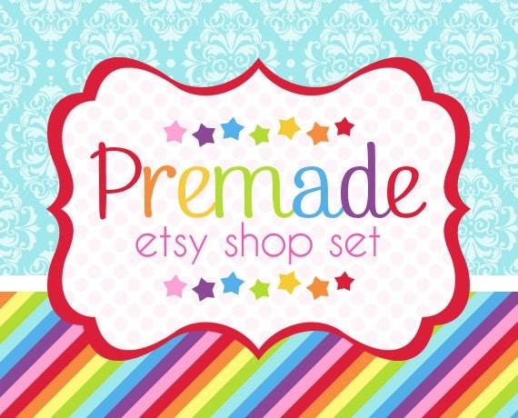 Rainbow with Blue Damask- Premade Etsy Set