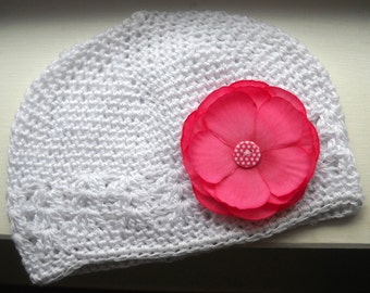 White Hat with Pink Flower Baby, Toddler, Girls