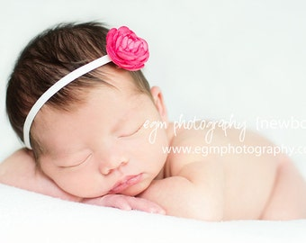 Baby Girl Pink Ranunculus Bloom Headband