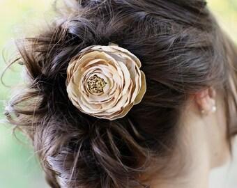 Flower Hair Clip - Large Beige Ranunculus Silk Bloom on a Pin or an Alligator Clip - Beige Flower - Special Occasion - Wedding Flower Clip