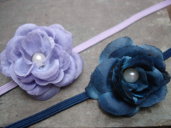 Baby Girl Flower Headband Set-Baby Lilac and Country Blue Headband Set of 2