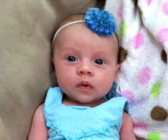 Baby Headband-Small Blue Pom on a Skinny Elastic Headband