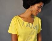 I AM // Easy Fit Yellow Asymmetrical Tee
