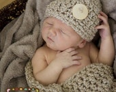 Hat Cocoon Cozy Newborn Baby Photo Prop, Photo prop Set Gift Newborns, Gift Baby Shower Hat and Cocoon wrap, New Baby Photography Hat Cocoon