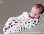 Egg Basket Cocoon wrap in Creamy Crocheted Knit lace Newborn Photography Prop Photo Shoot All Babies Infant Girl Boy Available more colors