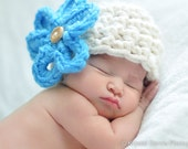 Newborn Beanie Hat Big Flower in Creamy - Photography HAT Baby Prop in stock - Infant Girl Boy Photo Shoot - Choice your Color
