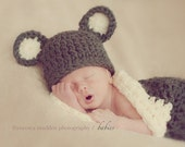 Cocoon and Bear HAT Chunky Newborn Baby Photo Prop in Brown Cream 2 pc all babies Photography Ready to Ship Photo Shoot Newborn