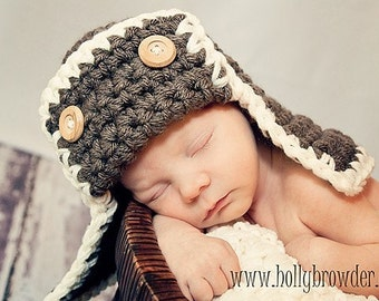 The AVIATOR Pilot Hat Newborn Baby Photo prop in WALNUT or any color Photography Hat all Babies Photo shoot newborns new baby infants