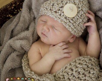 Hat and Cocoon Cozy Newborn Baby Photo Prop in PEARL photography new baby infant girl boy all babies photo session