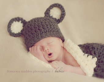 Bear Baby Hat and Cocoon, Newborn Hat Nest Photo prop, Baby Bear Hat Cocoon Photo Shoot, Gift New Baby Shower Ready to ship, Panda Bear Hat