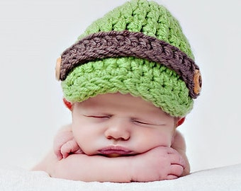 Ready 2ship Newsboy Hat Newborn Baby Cap Photo prop in GREEN - Photography Session