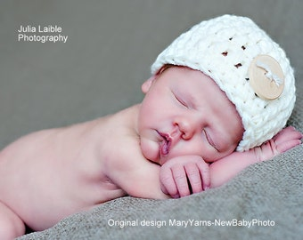 Beanie Button Hat Newborn Photo prop in CREAMY - Photography Session Hat