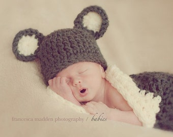 Teddy Bear Hat & Cocoon Newborn Photo prop in Brown Creamy Photo Shoot all Babies Infant girl boy Photography newborns