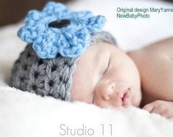 Newborn Hat Flower Photo prop, Beanie Baby Photography Hat, Crochet Knit Beanie Flower Hat, Gift Baby Shower, Flower Beanie HAT by MaryYarns