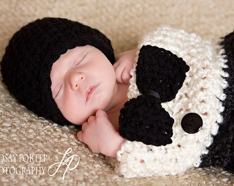 Tuxedo Baby Boy Photography prop - Cocoon, Hat and Bow - 3 pcs Baby Photo Shoot Set infant boy photo session new baby